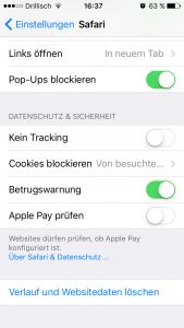 iOS iPhone Verlauf und Websitedaten löschen