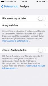 iOS iPhone Datenschutz / Analyse