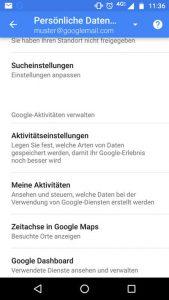 Android Aktivitätseinstellungen