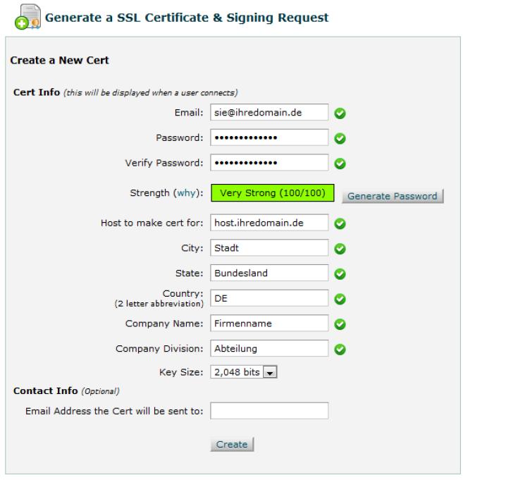 Erstellen Sie nun eine neue Zertifikatsanforderung und füllen Sie die Felder entsprechend aus