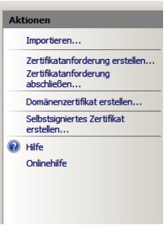 Sie können nun den Optionspunkt Serverzertifikate aufrufen, dort starten Sie die Zertifikatsanforderung