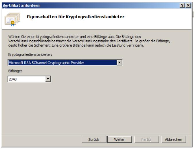 Im Nächsten Schritt passen Sie die Bitlänge auf 2048 an und stellen sicher dass RSA ausgewählt ist: