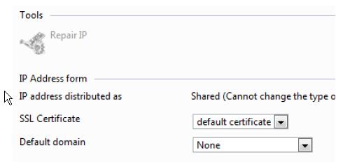 Ändern Sie das SSL-Zertifikat auf das von Ihnen eingespielte Zertifikat. Lassen Sie die Default Domain unberührt.