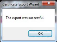 Der erfolgreiche Export des Zertifikats wird Ihnen bestätigt