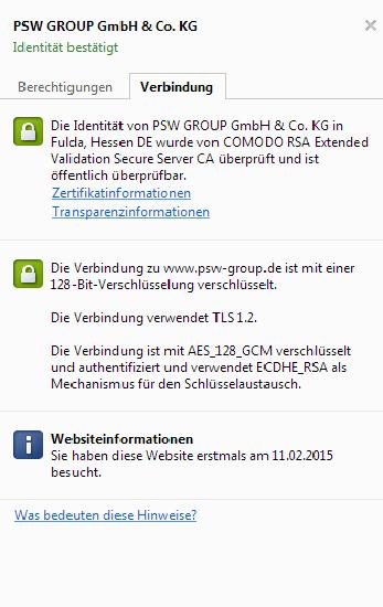 Darstellung des SSL-Zertifikates mit einem öffentlichen Eintrag