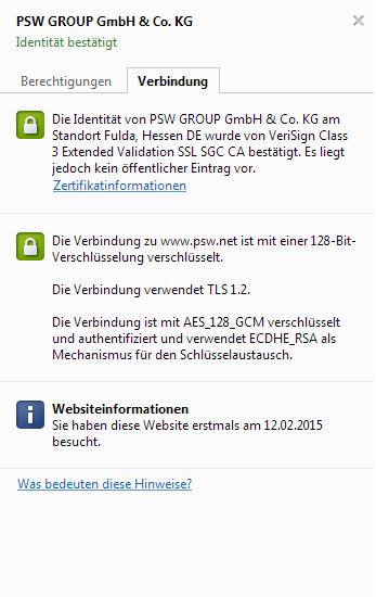 """Darstellung des SSL-Zertifikates ohne """"öffentlichen Eintrag"""""""