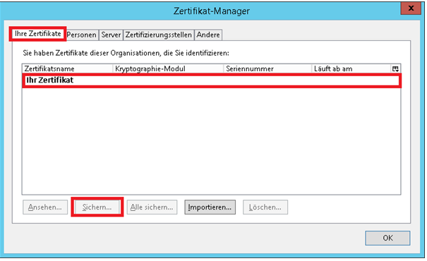 S/MIME - Zertifikat Manager