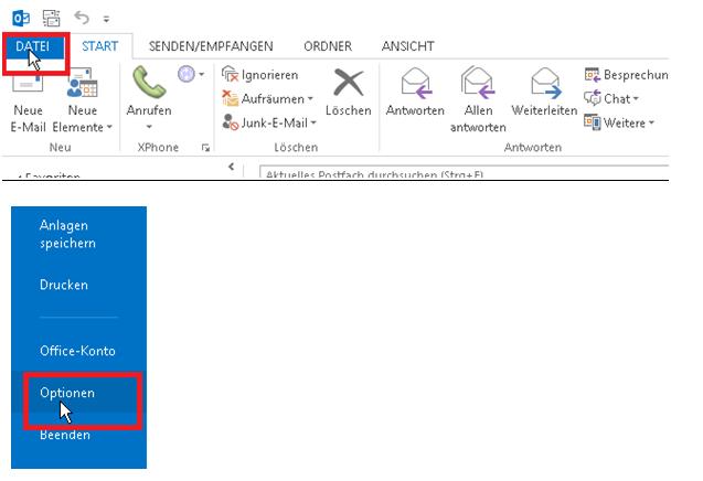 """Öffnen Sie Outlook und wählen Sie unter """"Datei"""" den Punkt """"Optionen""""."""