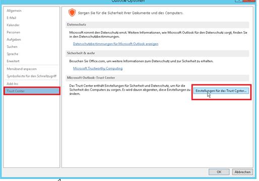 """Nun öffnet sich das Outlook-Optionen Fenster. Dort wählen Sie das """"Trust Center"""" aus und klicken auf den Button """"Einstellungen für das Trust Center""""."""